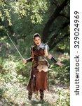 beautiful female warrior in...   Shutterstock . vector #329024969