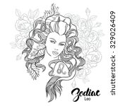 zodiac. illustration of leo as... | Shutterstock . vector #329026409