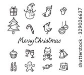 Christmas Outline Icons Set ...