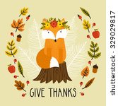 Holiday Card With Fox Siting O...