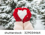 Woman In Red Gloves Holds Snow...