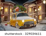 amazing funny retro car with... | Shutterstock . vector #329034611