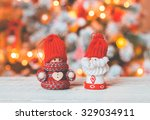 little cute gnomes at christmas ... | Shutterstock . vector #329034911