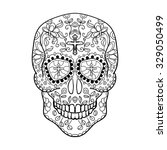 mexican sugar skull for the day ... | Shutterstock .eps vector #329050499