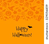 halloween card with spider  bat.... | Shutterstock .eps vector #329056859