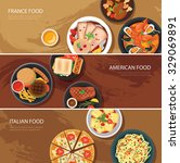 Set Of Food Web Banner Flat...