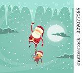 santa clause christmas monkey... | Shutterstock .eps vector #329077589