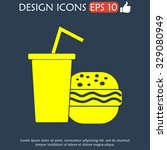 burger and paper cup with a... | Shutterstock . vector #329080949
