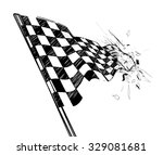 drawing checkered flag with... | Shutterstock .eps vector #329081681