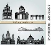 kolkata landmarks and monuments ... | Shutterstock .eps vector #329086379