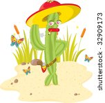 cactus man  vector illustration ... | Shutterstock . vector #32909173