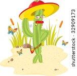 cactus man  vector illustration ... | Shutterstock . vector #32909173