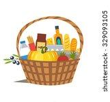 vector flat wicker basket with... | Shutterstock .eps vector #329093105