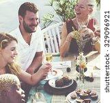 diverse neighbors drinking... | Shutterstock . vector #329096921
