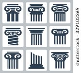 Ancient Columns Vector Icon Set