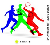 the colorful of tennis player... | Shutterstock .eps vector #329110805