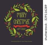 merry christmas card | Shutterstock .eps vector #329116289