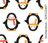 Christmas Penguin In Scarf In...