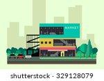 supermarket on the roadside.... | Shutterstock .eps vector #329128079