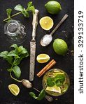 mojito ingredients on rustic... | Shutterstock . vector #329133719