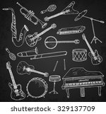 hand drawn musical instruments. | Shutterstock .eps vector #329137709