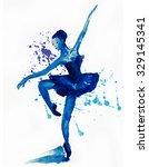 dancing ballerina in blue ... | Shutterstock . vector #329145341