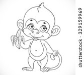 outlined cute baby monkey with... | Shutterstock .eps vector #329159969