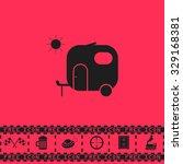 travel trailer. black flat...   Shutterstock .eps vector #329168381
