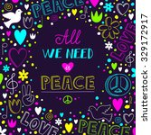 vector dark purple love and... | Shutterstock .eps vector #329172917