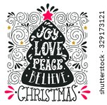 joy love peace believe. quote.... | Shutterstock .eps vector #329173121