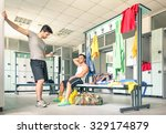 young people at gym dressing... | Shutterstock . vector #329174879