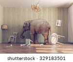 a elephant calm in a room.... | Shutterstock . vector #329183501