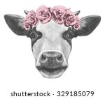 Portrait Of Cow With Floral...