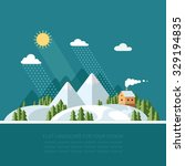 winter landscape mountains snow ... | Shutterstock .eps vector #329194835