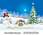 christmas card with a snowman ... | Shutterstock .eps vector #329202554