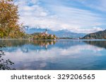 lake bled with the church on... | Shutterstock . vector #329206565