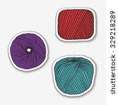 set of yarn skeins. | Shutterstock .eps vector #329218289