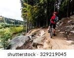 mountain biker riding on bike... | Shutterstock . vector #329219045