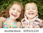 top view portrait of two happy... | Shutterstock . vector #329221124