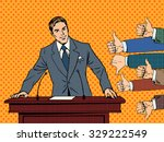 businessman speaker business... | Shutterstock .eps vector #329222549
