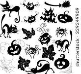 halloween set of doodle... | Shutterstock . vector #329249909