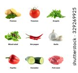 pork meat  salad mix and garlic.... | Shutterstock . vector #329269925