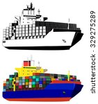 container ship  colored  black... | Shutterstock .eps vector #329275289