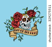 hand drawn day of dead mexican... | Shutterstock . vector #329275511