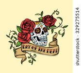hand drawn day of dead mexican... | Shutterstock . vector #329275514