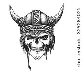 hand drawn viking skull in... | Shutterstock .eps vector #329284025