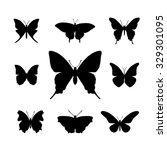 set of black simple butterfly... | Shutterstock .eps vector #329301095