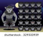 werewolf cartoon emotion faces... | Shutterstock .eps vector #329333939