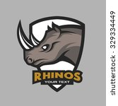 rhino emblem  logo for a sports ... | Shutterstock .eps vector #329334449