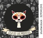 colorful cat skull on day of... | Shutterstock .eps vector #329341241